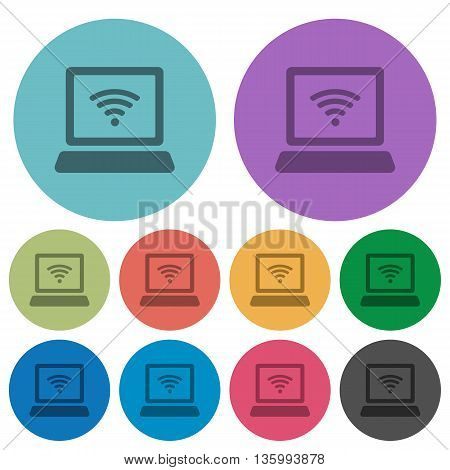 Color computer with wireless flat icon set on round background.