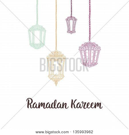 Ramadan Kareem theme. Vector card with flashlights and lettering. Hand drawn illustration with lamps.