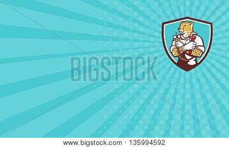 Business card showing illustration of a cheetah heating specialist refrigeration and air conditioning mechanic holding a pressure temperature gauge looking to the side viewed from front set inside shield crest on isolated background done in cartoon style.