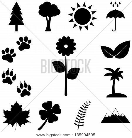 Trees, flowers and animal tracks. Nature icons set
