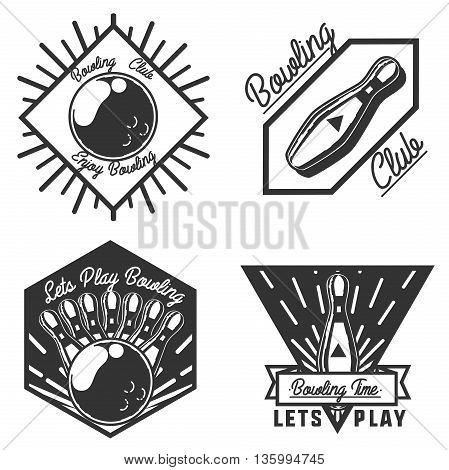Vector set of bowling logos, emblems and design elements. logotype templates and badges