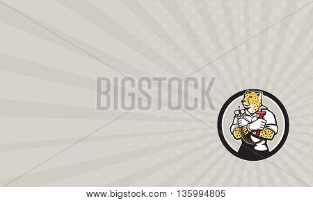 Business card showing illustration of a cheetah heating specialist refrigeration and air conditioning mechanic holding a pressure temperature gauge looking to the side viewed from front set inside circle on isolated background done in cartoon style.