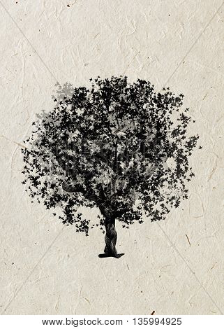 Drawing tree maple on a beige rice paper. Black silhouette on a beige rice paper. Graphic arts.