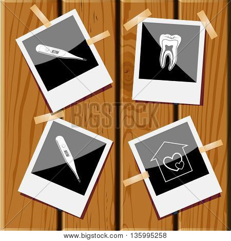 4 images: orphanage, tooth, thermometer, thermometer. Medical set. Photo frames on wooden desk. Vector icons.