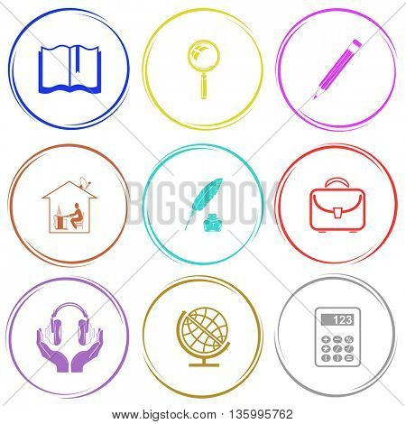 9 images: book, magnifying glass, pencil, home work, feather and ink bottle, briefcase, headphones in hands, globe, calculator. Education set. Internet button. Vector icons.
