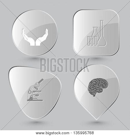 4 images: human hands, chemical test tubes, lab microscope, brain. Medical set. Glass buttons on gray background. Vector icons.