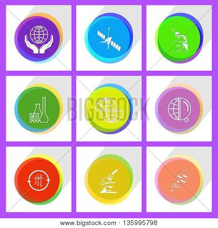9 images: wind turbine, chemical test tubes, protection world, lab microscope, shift globe, spaceship, dna, globe and magnifying glass. Science set. Internet template. Vector icons.