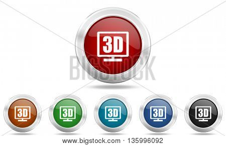 3d display round glossy icon set, colored circle metallic design internet buttons
