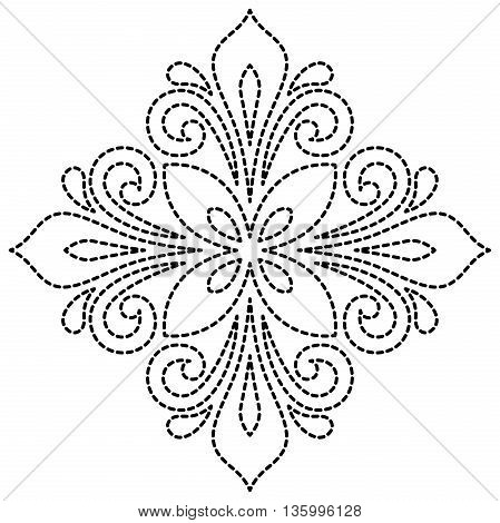 Oriental vector pattern with arabesques and floral elements. Traditional classic ornament. Black and white pattern