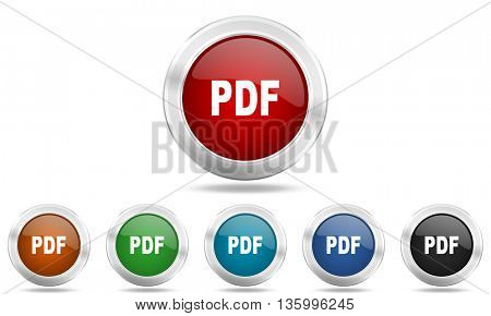 pdf round glossy icon set, colored circle metallic design internet buttons