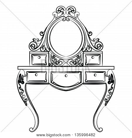 Dressing table in round shape with rich ornaments. Elegant furniture with rich ornaments. Baroque Luxury style furniture. Vector