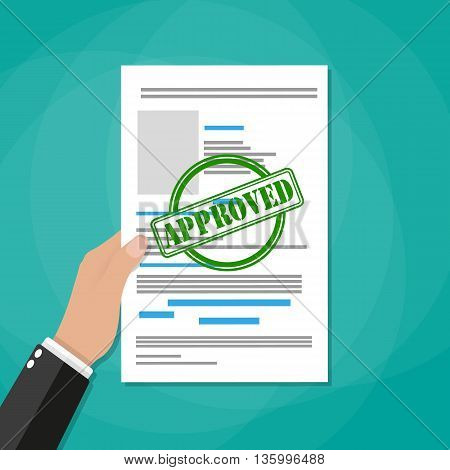 Hand holds approved paper document, green approved stamp. Vector flat illustration in flat style on green background