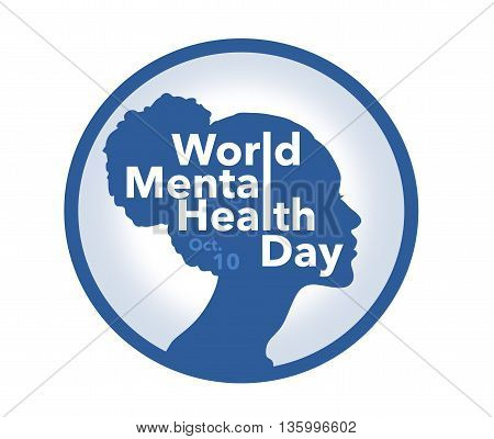 World mental health day banner, illustration of woman silhouette
