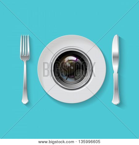 Camera Lens With Fork And Knife