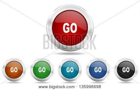 go round glossy icon set, colored circle metallic design internet buttons