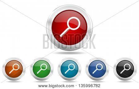 search round glossy icon set, colored circle metallic design internet buttons