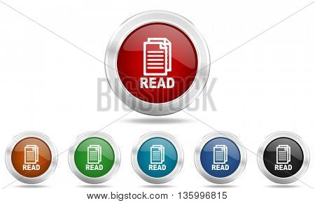 read round glossy icon set, colored circle metallic design internet buttons