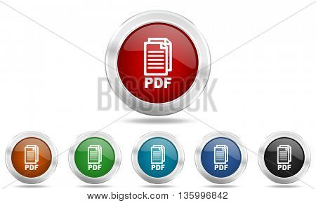 pdf round glossy icon set, colored circle metallic design internet buttons,