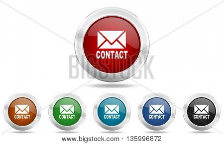 email round glossy icon set, colored circle metallic design internet buttons