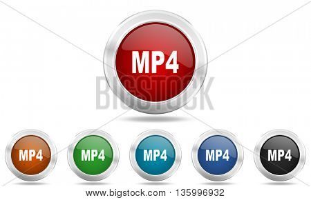 mp4 round glossy icon set, colored circle metallic design internet buttons