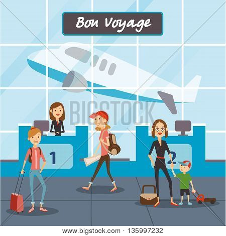 People fly on vacation, travelers in the airport terminal. Mom with a child fly on a trip. Vector eps 10 format.