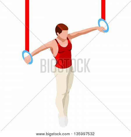 Gymnastics Still Rings Summer Icon Set.3D Isometric Gymnast.Sporting Championship International Competition.Olympics Sport Infographic Artistic Gymnastics Vector Illustration