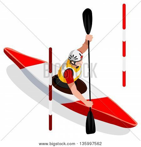 Kayak Slalom Canoe Summer Games Icon Set.3D Isometric Canoeist Paddler.Slalom Kayak Sporting Competition Race.Sport Infographic Kayak Slalom Vector Illustration