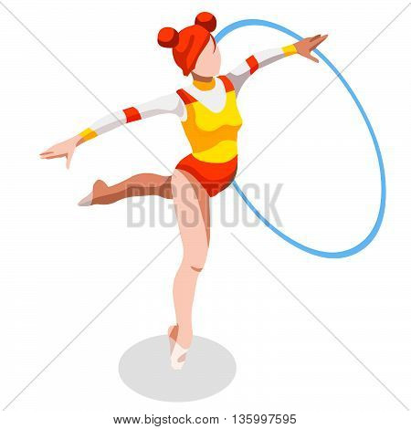 Rhythmic Gymnastics Hoop Summer Games Icon Set.3D Isometric Gymnast.Sporting Championship International Competition.Sport Infographic Rhythmic Gymnastics Vector Illustration