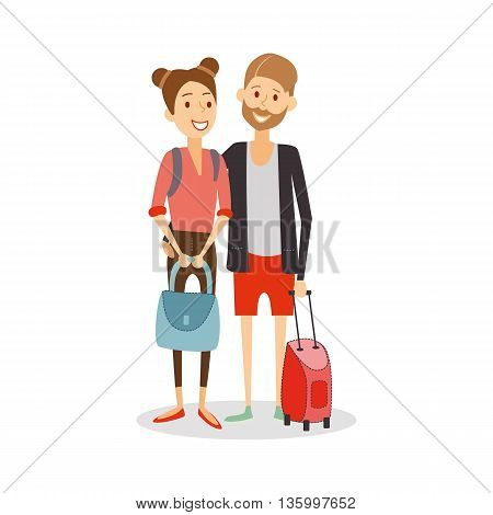 Married couple on journey. Young happy newlyweds go on vacation, travel people cartoon isolated, vector eps 10 format.