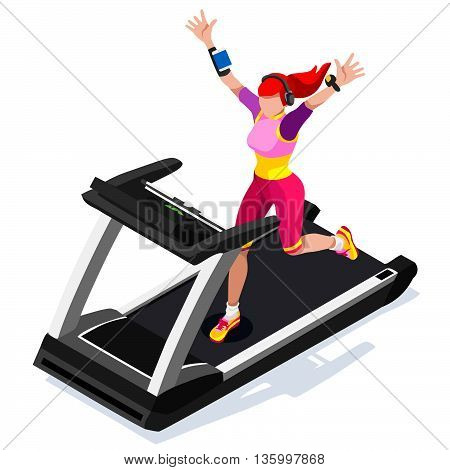 Treadmill Gym Class Working Out. Gym Equipment Treadmill Running White Man Athlete Runners Working Out Gym Class. 3D Flat Isometric Marathon Runners athlete training Vector Image