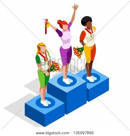Winner Podium Sports Icon Set.Speed Concept.3D Isometric Athlete.Sporting Competition.