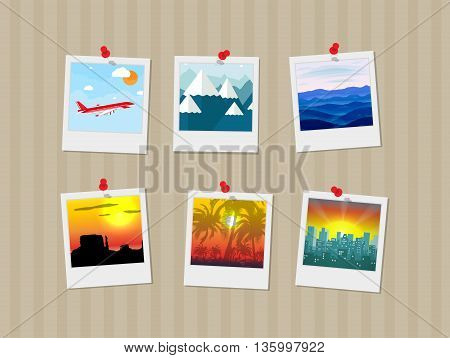 Travel photos pinned to wall. travel and vacation concept, travel memories. vector illustration in flat design