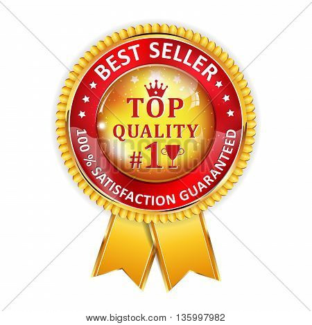 Best Seller, satisfaction guaranteed. Top Quality - golden red award ribbon.