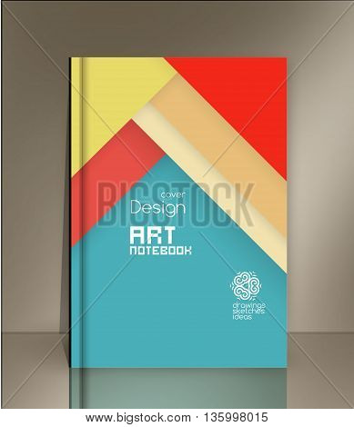 Blank vertical hardcover book template with red bookmark standing on gray surface. Vector illustration. Material design template