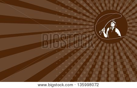Business card showing illustration of a mobster gangster fly fisherman wearing hat fishing casting fly rod set inside circle on isolated background done in retro style.
