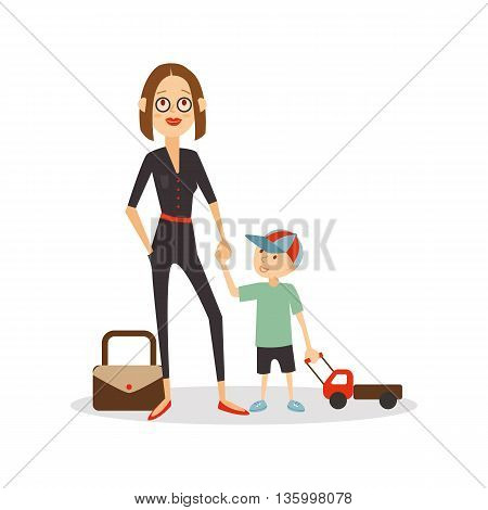 Woman child isolated cartoon people. Mother and son are going on vacation. Young mother holding the hand of her son, vector eps 10 format.