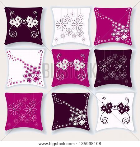 A set of colorful pillows for interior vector illustration of a pillow with floral pattern