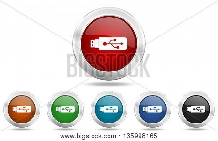 usb round glossy icon set, colored circle metallic design internet buttons