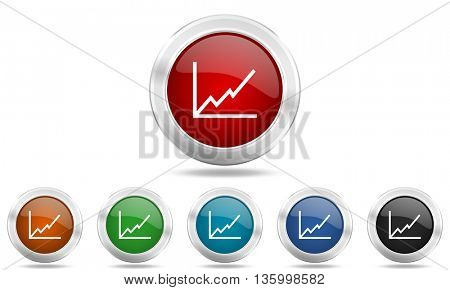 chart round glossy icon set, colored circle metallic design internet buttons