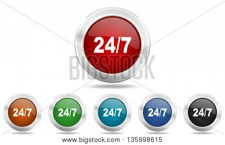 24/7 round glossy icon set, colored circle metallic design internet buttons
