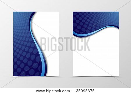 Grid flyer template design. Abstract flyer template with blue line and circle surface. Wave flyer design. Vector illustration