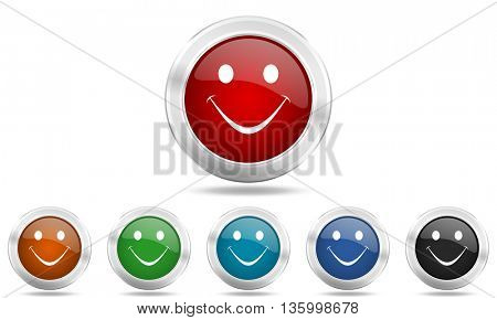 smile round glossy icon set, colored circle metallic design internet buttons