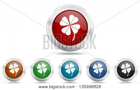 four-leaf clover round glossy icon set, colored circle metallic design internet buttons