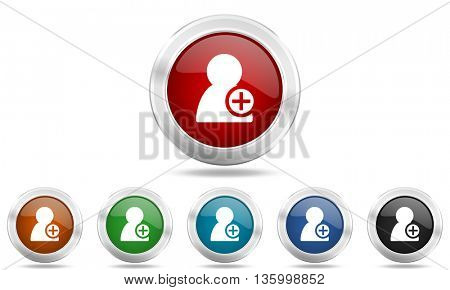 add contact round glossy icon set, colored circle metallic design internet buttons