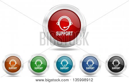 support round glossy icon set, colored circle metallic design internet buttons