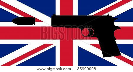 Gun Crime in the UK  - Gun with background of Union Jack. An illustration of the Union Jack (flag of the United Kingdom) with an illustration of a gun on top