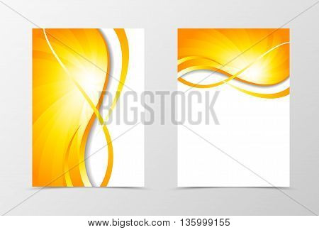 Flyer template vortex design. Abstract flyer template with gold wavy lines. Swirl wave spectrum flyer design. Vector illustration