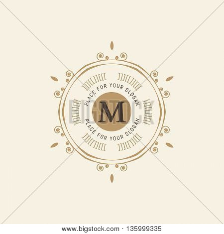 The letter M. Flourishes calligraphic monogram emblem template. Luxury elegant frame ornament line logo design vector illustration. Example designs for Cafe, Hotel, Heraldic, Restaurant, Boutique