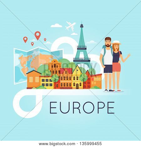 Two young tourists on vacation. Character design. World Travel. Planning summer vacations. Summer holiday. Euro-trip. Tourism and vacation theme. Flat design vector illustration.