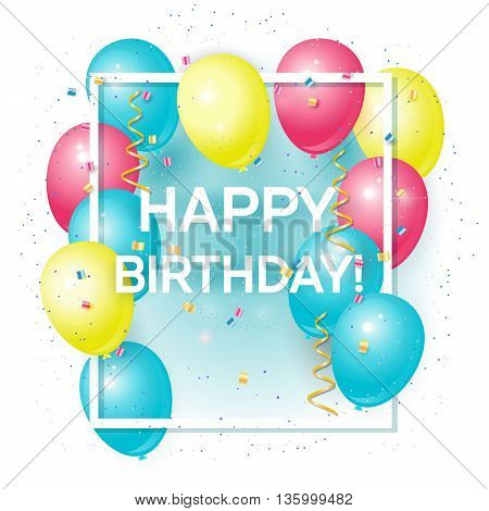 Happy birthday greeting card with volume colored balloons and sample text. Can be used as happy birthday poster. Isolated on white background.Vector illustration